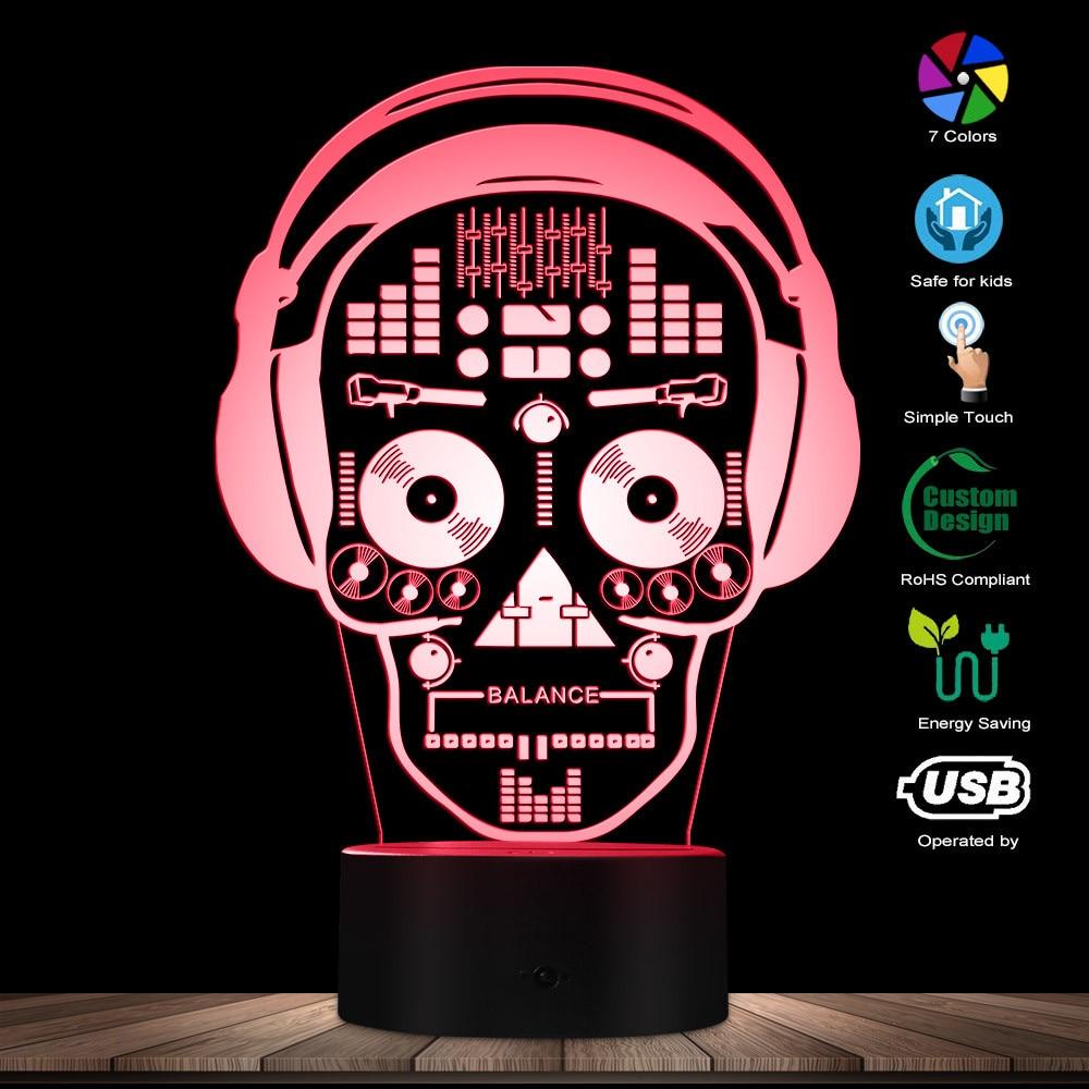 3D LED Illustration Art DJ Skeleton Headphones Sound Mixer Night Lights Music Skull Tatoo Headphones LED Lights Decor Table Lamp