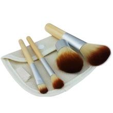 4 unids/set Natural Bamboo Kabuki Pinceles de Maquillaje Set Powder Blush Cepillos Cosméticos Mango Herramientas con Bolsa Ecológica