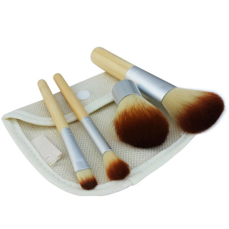 4pcs set Natural Bamboo Kabuki Makeup Brushes Set Powder Blush Brushes Handle font b Cosmetics b
