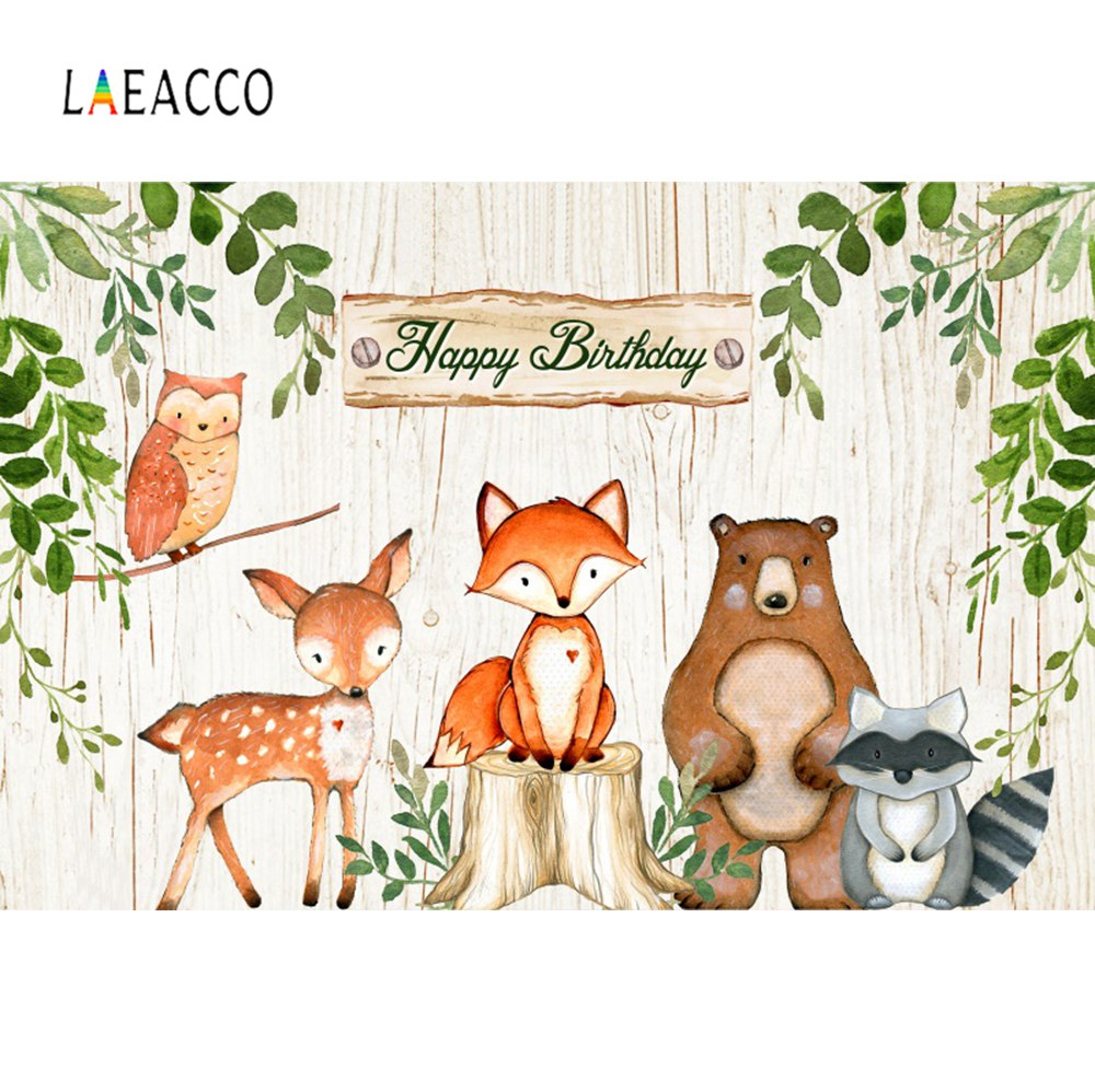 Laeacco Watercolor Baby Birthday Party Jungle Forest Safari Photocall Banner Photography Background Photo Backdrop Photo Studio