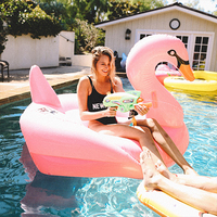 1.9m 75inch Giant Pink Swan Swimming Pool Float Inflatable Flamingo Floating Row Swim Ring Beach Bed Summer Water Game Party Toy