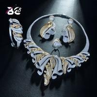 Be 8 Роскошный AAA CZ Африканский комплект ювелирных изделий для женщин свадебный Циркон Кристалл CZ индийский Африканский 2 тона Свадебный комп