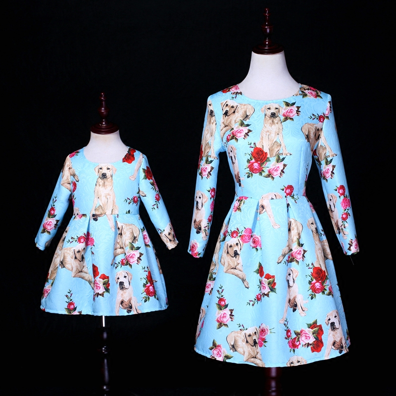 Spring children clothing Women fashion dress mom baby girls dogs print family look outfits matching mother and daughter clothes brand mother and baby clothing children clothes prints party family matching outfits mother girls dress mom and daughter dresses
