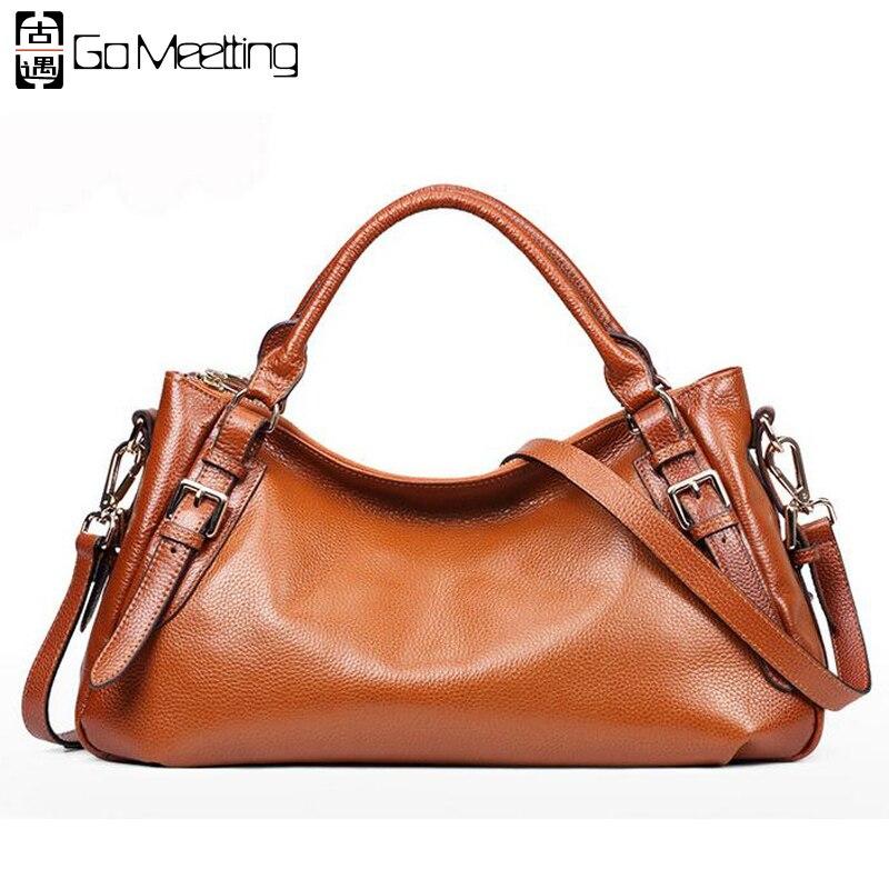 Go Meetting High Quality Genuine Leather Women Handbags Cow Leather Ladies Shoulder Bags Vintage Hobos CrossBody Messenger Bag цены онлайн