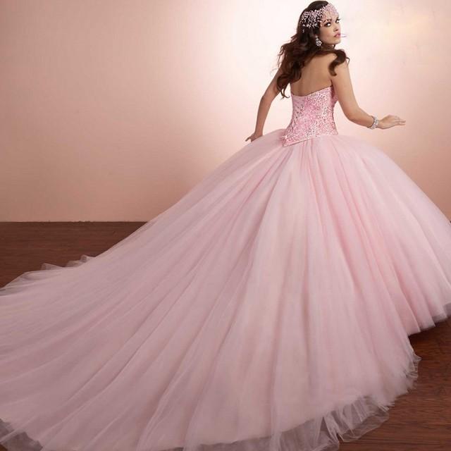 Rosa 2017 vestido de Baile Quinceanera Vestido Com Jaqueta de Tule Frisado pérolas longo sweet 16 anos vestidos de festa vestido de 15 Anos