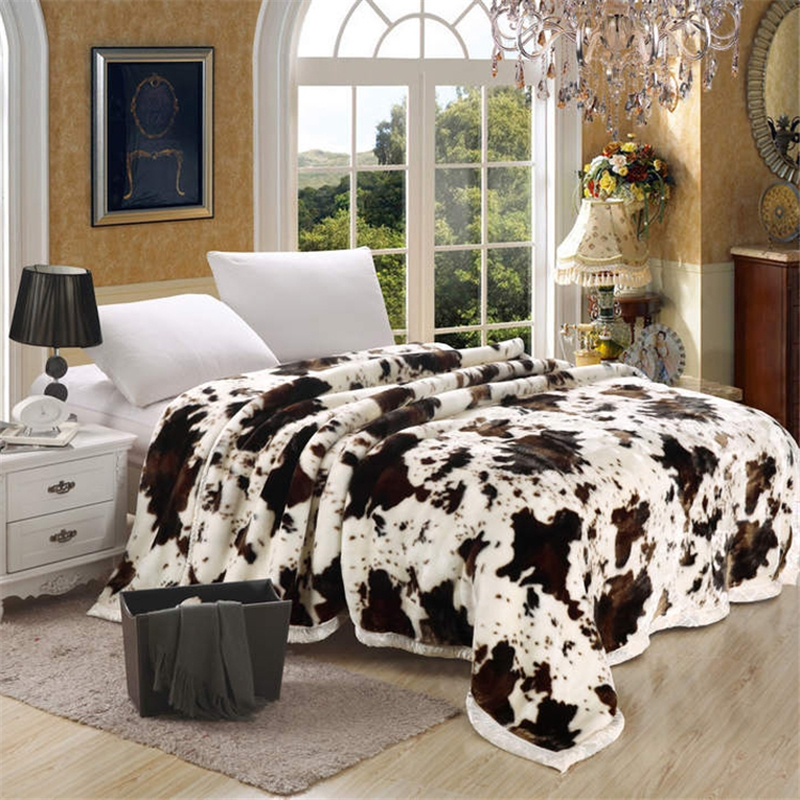 Super Soft Raschel Blanket Animal Cow Skin Flower Print Double Layer Queen King Size Double Bed Thick Warm Winter Mink Blankets