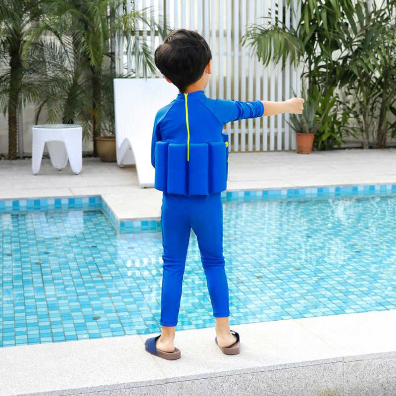 Doraemo/детский купальный костюм с длинным рукавом для плавания для мальчиков и девочек, UPF 50 + купальный костюм-поплавок для девочек, полный купальный костюм