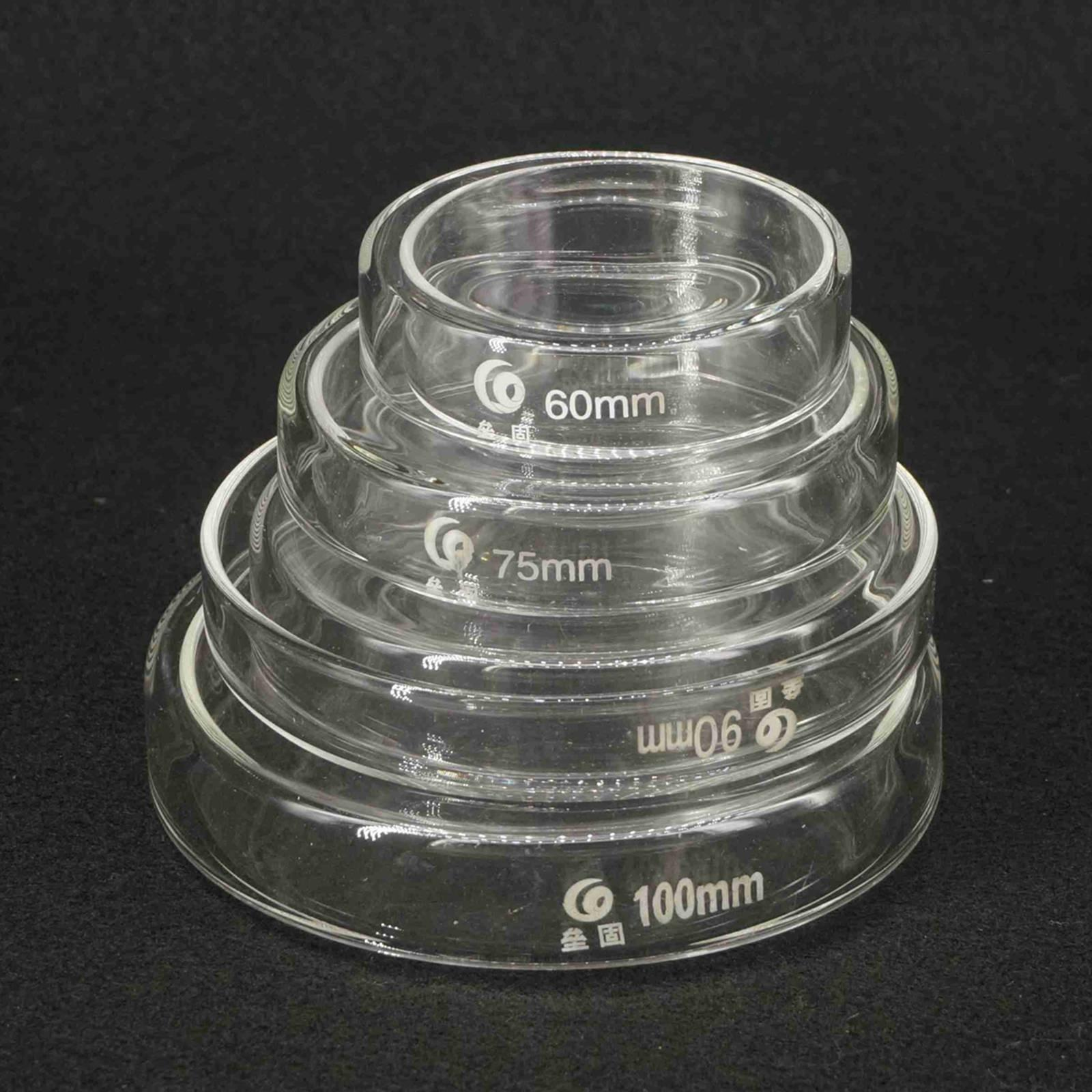Laboratory Bacterial Yeast Borosilicate Glass Petri Culture Dish 60/75/90/100/120mm With Lids
