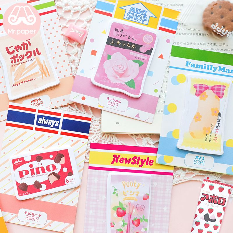 Mr Paper 30pcs/lot 8 Designs Japanese 7-11 Store Style Delicious Snack Food Sticky Notes Creative Write Down Points Memo Pads