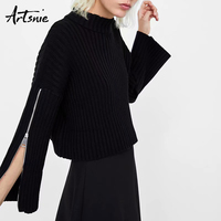 Artsnie Black Casual Winter 2018 Knitted Short Sweater Turtleneck Zipper Flare Sleeve Pullovers Autumn Pull Femme Hiver Jumper