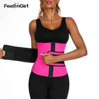 FeelinGirl 7 Steel Boned Latex Waist Trainer Belt Plus Size Slimming Waist Cincher Girdle Firm Control Body Shaper Corset F
