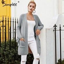 6c7eb8be3ed8 Simplee gris Casual bolsillo de Chaqueta larga de punto manga de murciélago  lateral Jersey 2018 otoño e invierno las mujeres sué.