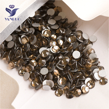 YANRUO 2058NoHF SS16 Smoked Topaz 1440Pcs Nail Art Crystal Flat Back Glue On Nails Strass Non Hotfix Rhinestone For Craft