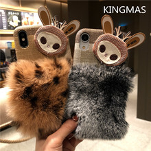 KINGMAS Hairy cute fashion hairy warm leather case for iPhone 6 7 6S 8 plus plush leopard case for iPhone X XR XS MAX phone case