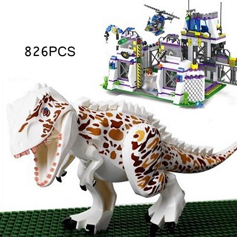 Hot movie Jurassic World dinosaur Park base Tyrannosaurus Rex Get away building block scene figures brick toys for boys gifts