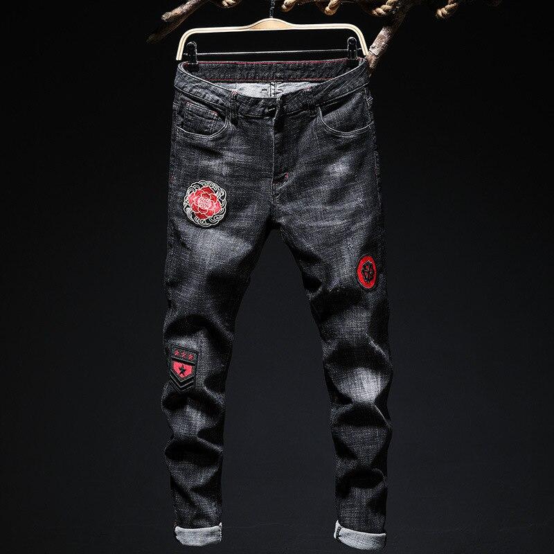 Jeans décontracté casual déchiré Skinny Biker Jeans 2019 printemps été effiloché Slim coupe Denim tendance broderie pantalon droit