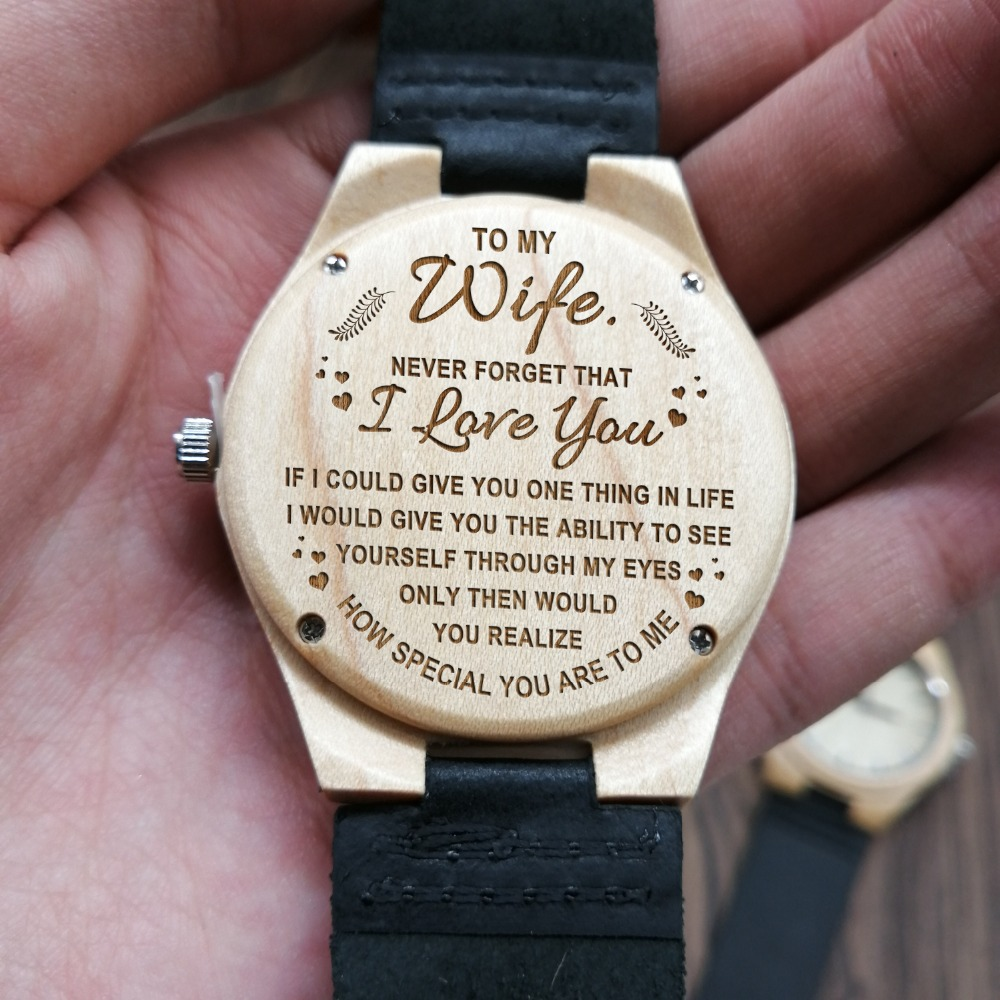 In Your Heart Engraved Wooden Watch To My Wife Ladies