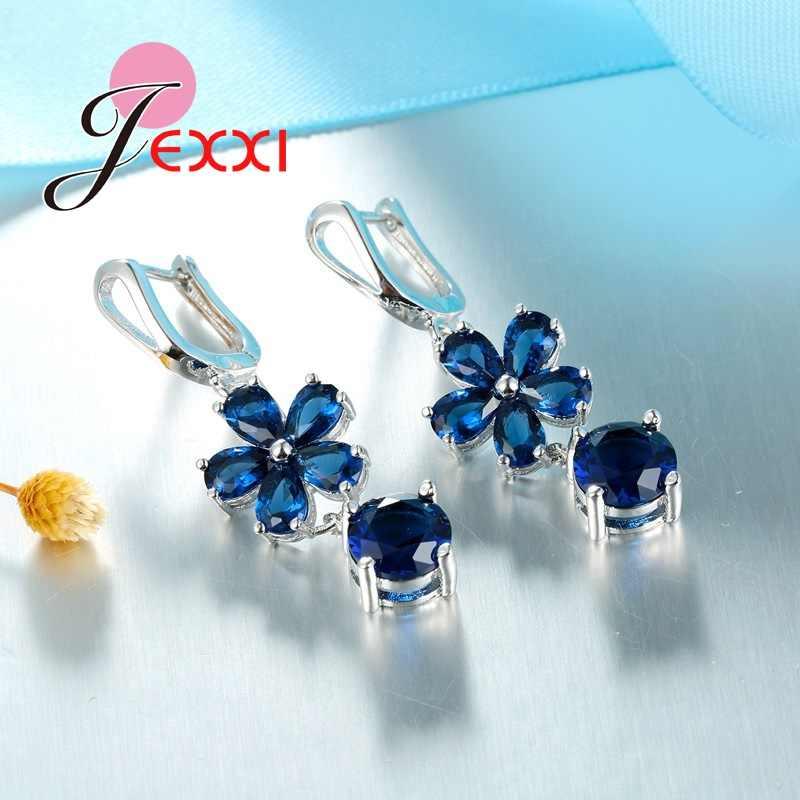 Menawan 925 Sterling Silver Anting-Anting Kalung Cincin Wanita Perhiasan Set Biru Tua Cubic Zirconia Bunga Liontin