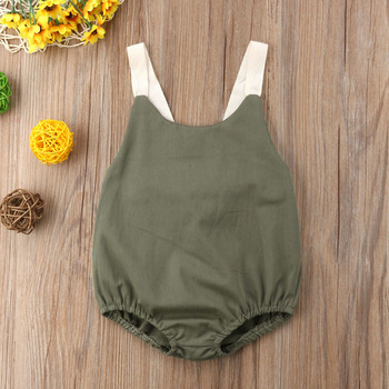 Summer Bowknot Backless Romper Casual Plain Outfit For 0-24 Months Baby 5