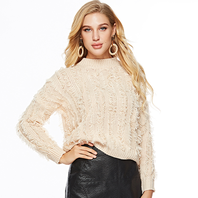 Korean Fashion Sweater For Women Knitted Clothing 2018 Autumn Winter Jumper Fringe Pullover Female Solid Basic Sweaters