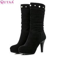 QUTAA 2018 Women Mid Calf Boots Thin High Heel Fashion Women Shoes Zipper Flock Westrn Style