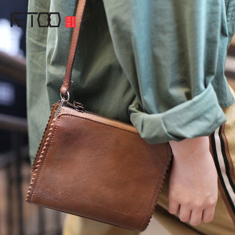 AETOO Original design personality casual small square bag retro soft leather shoulder bag Messenger bag small handmade leather AETOO Original design personality casual small square bag retro soft leather shoulder bag Messenger bag small handmade leather