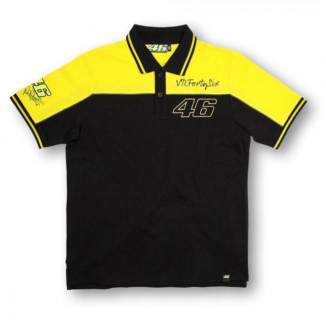 Free Shipping 2016 Moto Gp Vr46 Polo Black Yellow Valentino Rossi