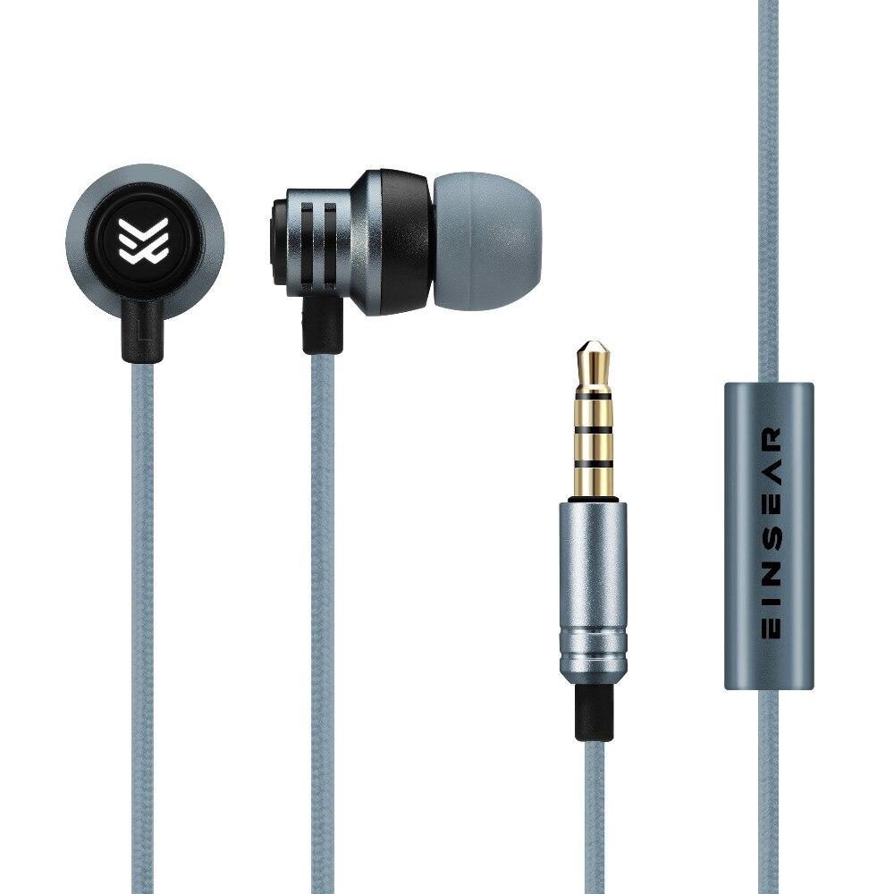 EINSEAR T2 In Ear Earphone 10MM Single Dynamic Drive Unit Bass HIFI Metal Earphone With Microphone Earphone Free Shipping