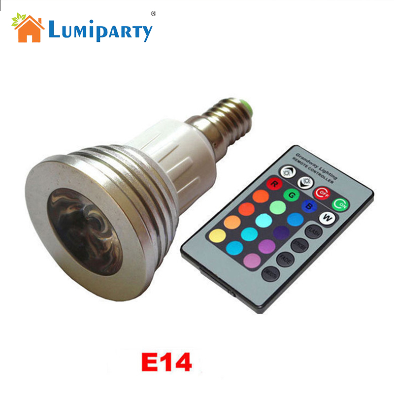 LumiParty E14 Colors Changing Dimmable 3W RGB LED Light Bulb Remote Control for Home Decoration Bar Party zk15