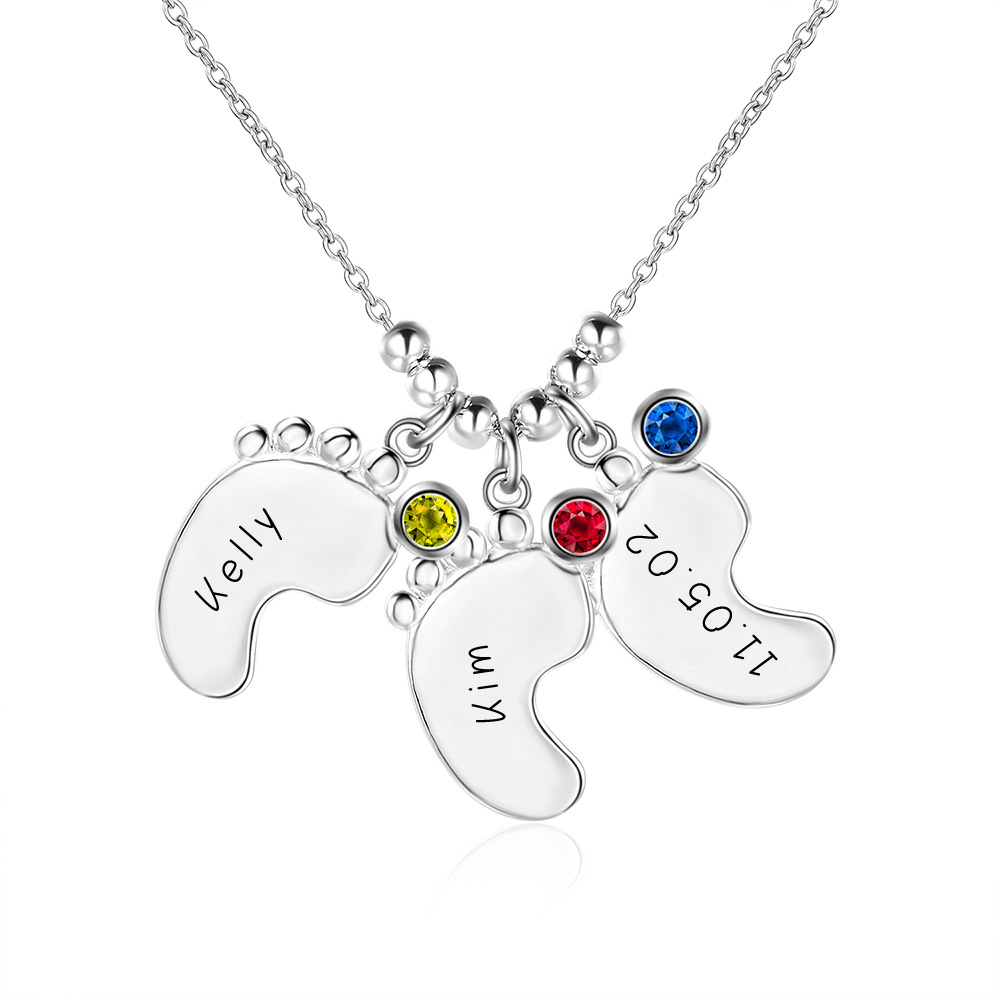 Family Gift 925 Silver Engraved Baby Feet Pendant Necklace with Personalized Birthstone Custom Made With Any