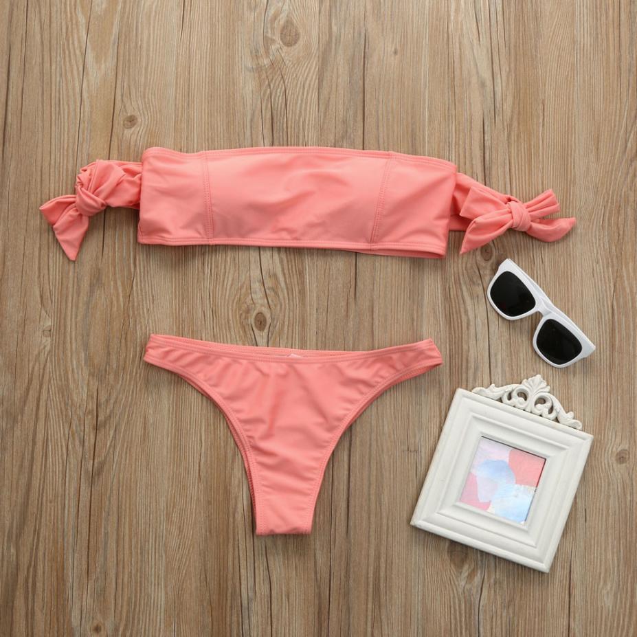 2018 Summer Push-up Padded Bra Bandage Bikini Set Strapless Low Waist Swimsuit Bowknot Swimwear Women Two PCS Bathingsuit