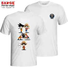 Monkey Goku And Monkey Luffy T-shirt Double Sided Crossover Rock Style Pop T Shirt Novelty Brand Anime Women Men Cotton Top stylish monkey king printed t shirt and pencil pants twinset for women