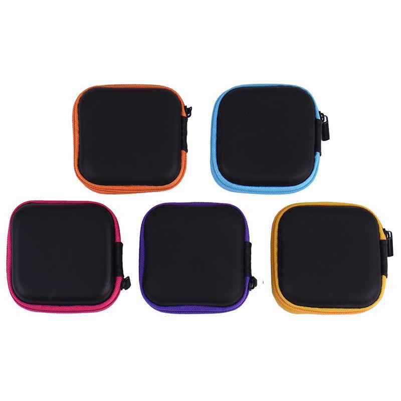 PU Square Earphone Case Cover Zipper Earbuds Holder Headphone Storage Carry Box Mini Travel Pocket Handbag Earphone Earbuds Bag