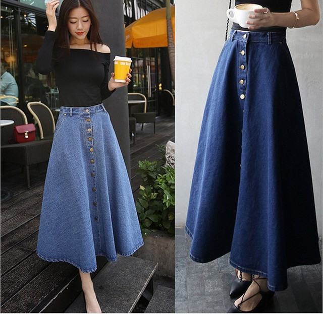 b5e0eb74b Women Jeans Skirt Button Down Pleated Denim Sexy Skirts Plus Size Long  Casual A Line Skirt Girls Skirt