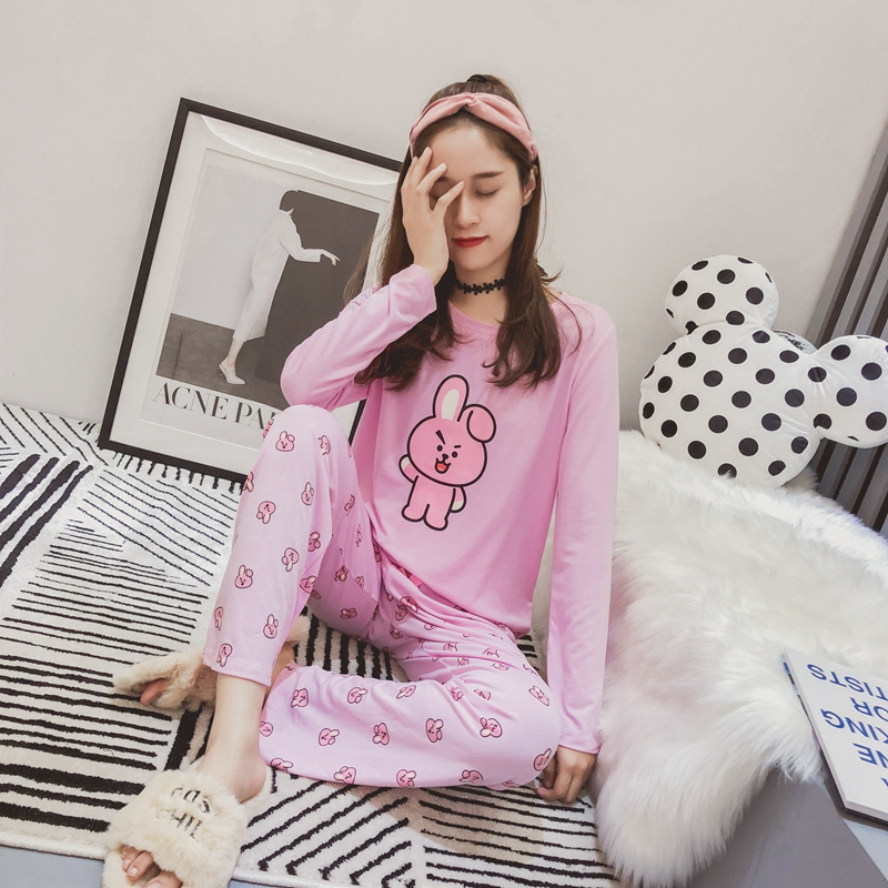 BT21 BTS Kawaii Cartoon Cotton   Pajama     Sets   Bangtan Boys Korean Style Fashion Women Autumn Spring Long Sleeve Comfy Sleepwear