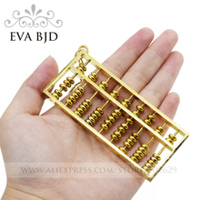 Golden Metal Abacus Chinese Calculating Tool for 1/3 1/4 1/6 BJD Doll Decoration Key-chain Lucky Gift DAP004