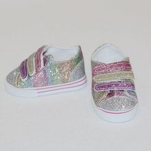 New Style Rainbow Glitter Mini Doll Shoes Denim Sneakers For 18 Inch Girls Dolls Shoes  43cm Baby Doll Accessory Girl Best Gift hot sell new 18 inch 45cm for american girls dolls fur snow boots shoes for alexander doll accessory baby born doll girl gift
