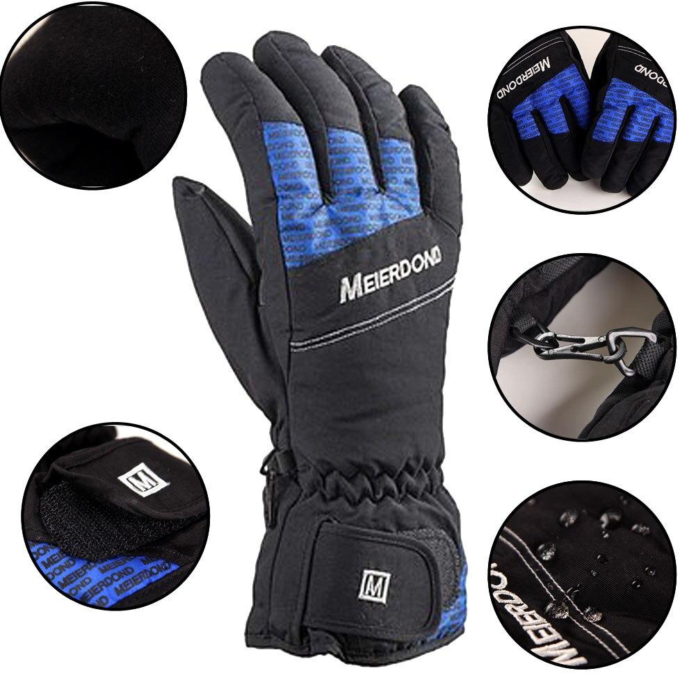 Ski Gloves Men Winter Thicken Warm Anti-slip Windproof Waterproof Cycling Ski Snow Snowmobile Snowboard Skiing Gloves Outdoor