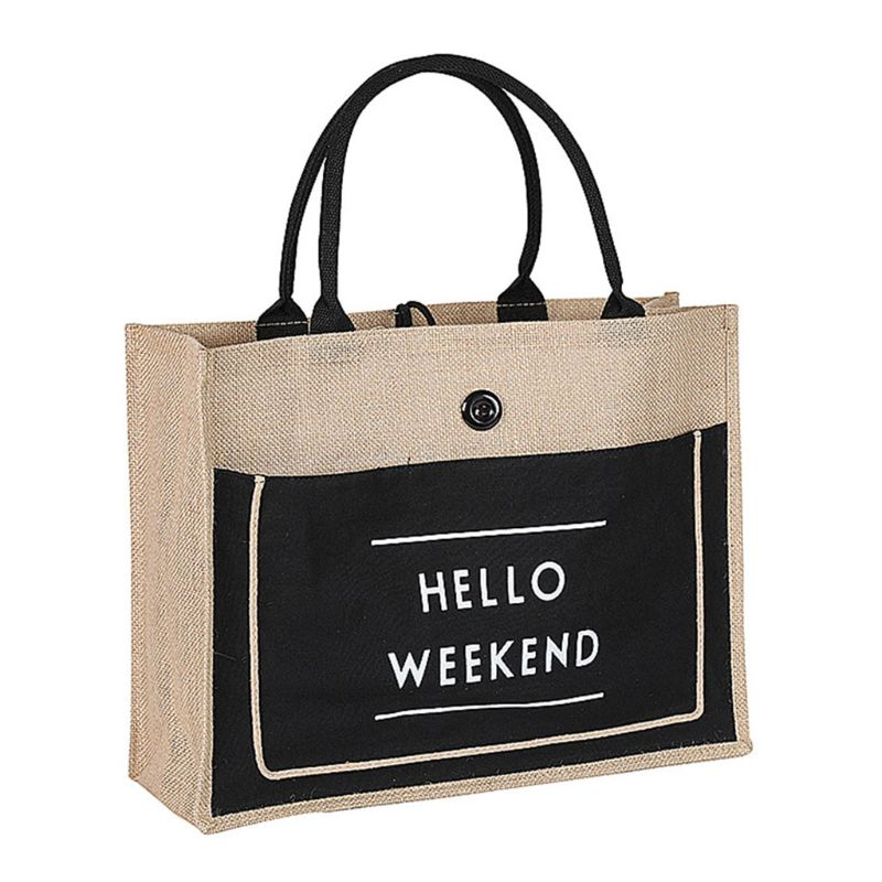 Hot Sale Women Linen Tote Large Capacity Lady Handbag Beach Shopping Bags Casual Shoulder Bag in Shopping Bags from Luggage Bags