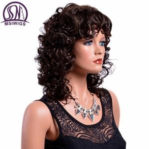 Image 2 - MSIWIGS 女性茶色のカーリー前髪耐熱アフロ中オンブルのかつら女性
