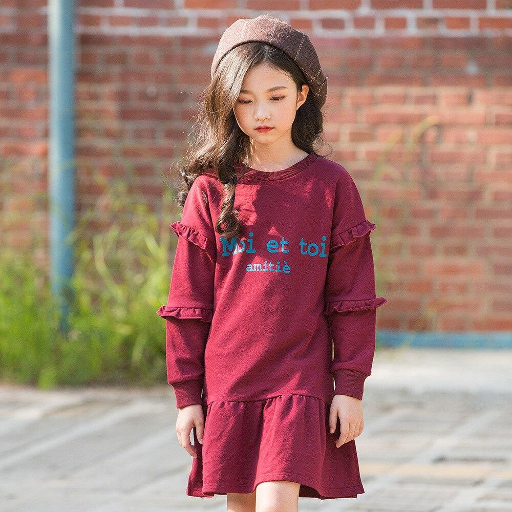 2019 robe à manches longues élégante princesse printemps automne robes robe enfants vêtements pour enfants robe Midi 5 6 7 8 9 10 ans
