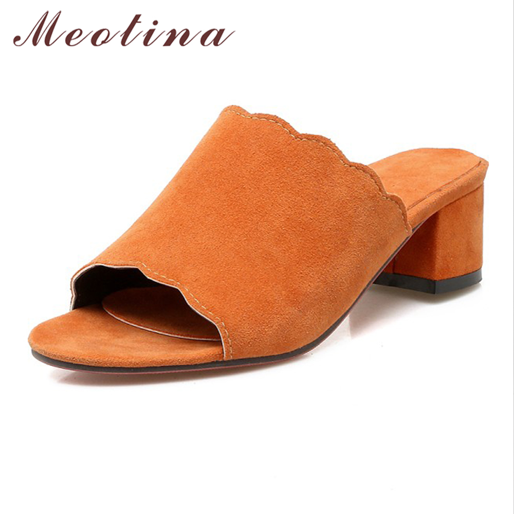 Meotina Designer Women Shoes Summer Sandals Thick High Heel Slippers Open Toe Ruffles Mules Shoes Slides Orange Large Size 9 43 meotina brand design mules shoes 2017 women flats spring summer pointed toe kid suede flat shoes ladies slides black size 34 39