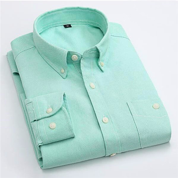 Candy Color Men's Shirt Oxford Classic Cotton Long Sleeve Business Dress Shirts Formal Social Brand Clothing Chemise Homme X154 8