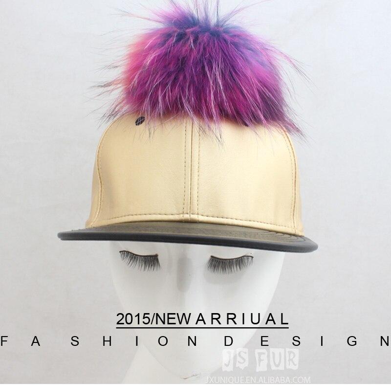 0f444b75c6a JSFUR Brand Hip Hop Snapback Hats with Real Colorful Raccoon Fur ...