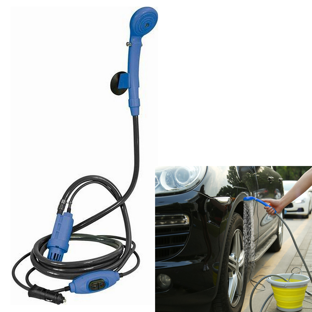New Portable 12V Car Washer Blue Shower pump Outdoor Camping Travel Car Caravan Hike Shower Pump Pipe Kit Car Washer Accessories