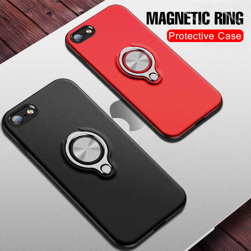 Luxury Shockproof Ring Holder Case On The For IPhone XR XS Max X 6 6s 7 8 Phone Case Cover For IPhone 6 6s 7 8 Plus Armor Case