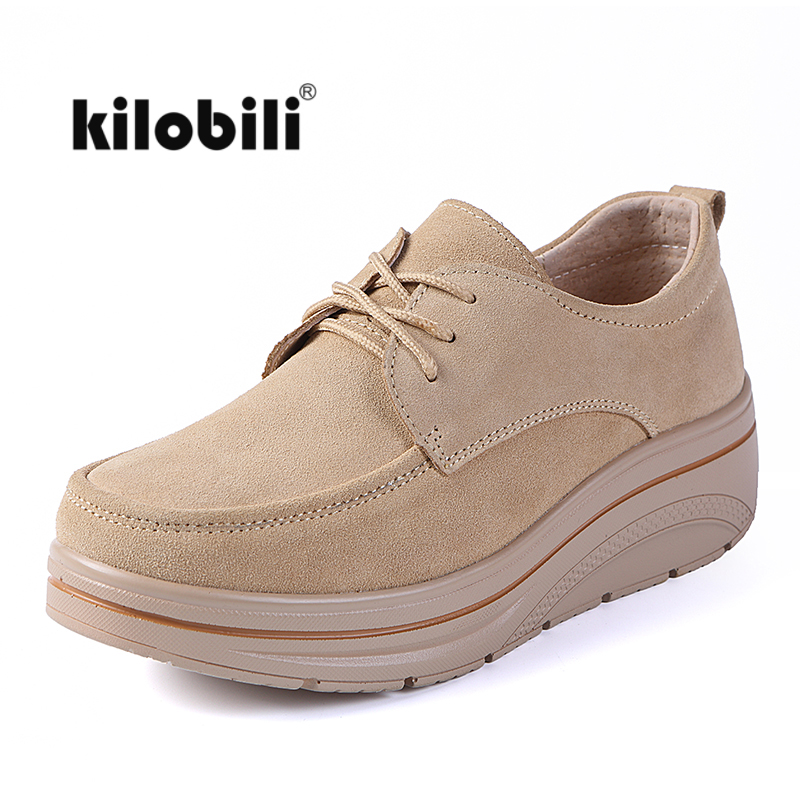 kilobili 2018 Autumn women flats shoes walking platform sneakers shoes   leather     suede   casual shoes flat heels creepers moccasins