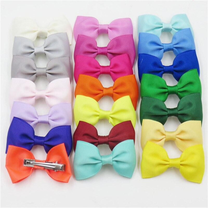 1PCS Rainbow Hair Hand Bohemian Bows Christmas Girls 64 Colors Scrunchy Grosgrain Ribbon Hair Bow Kids Hair Accessories 2018