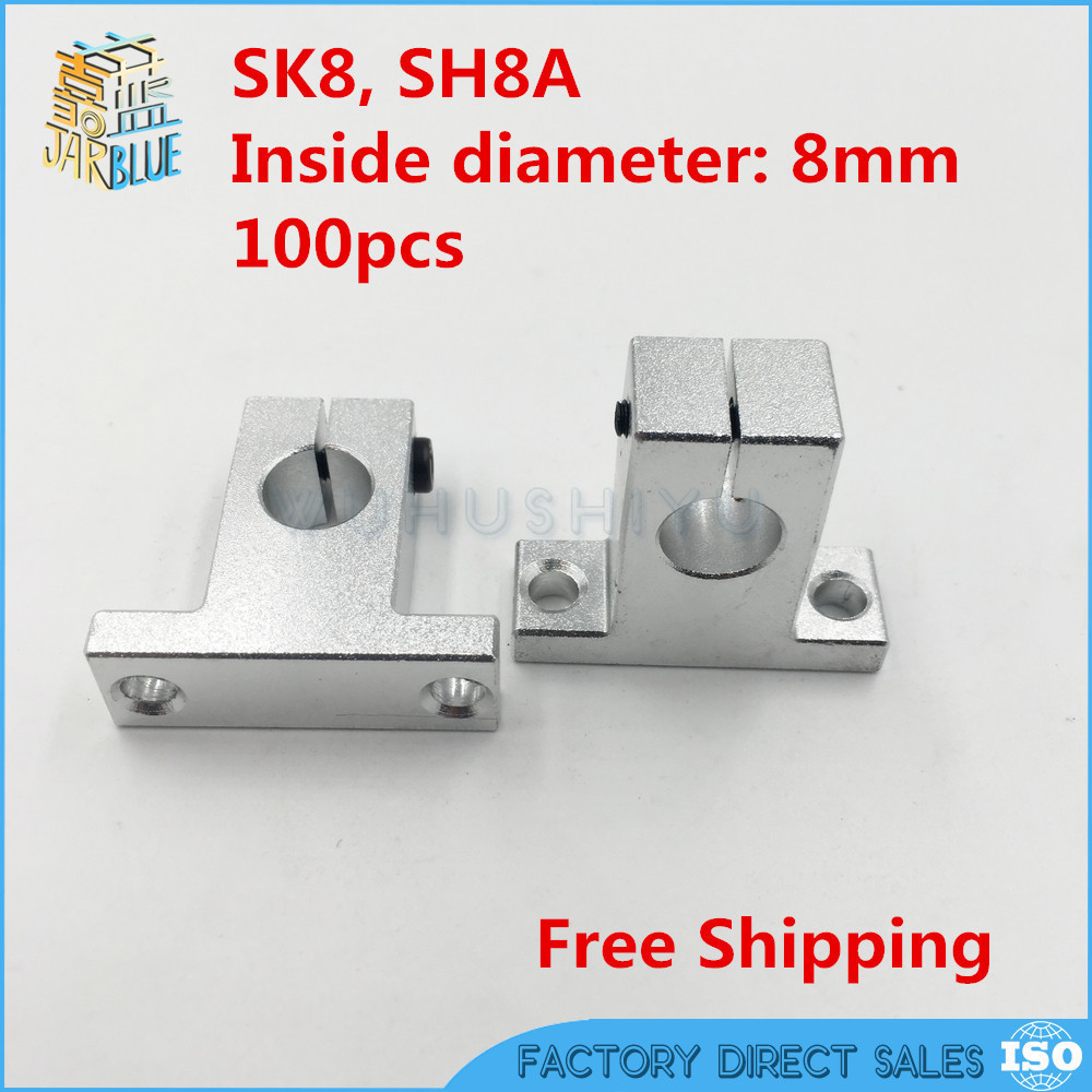 Competitive 100pcs SK8 8mm Linear Shaft Support Router SH8A Parts for 8mm shaft