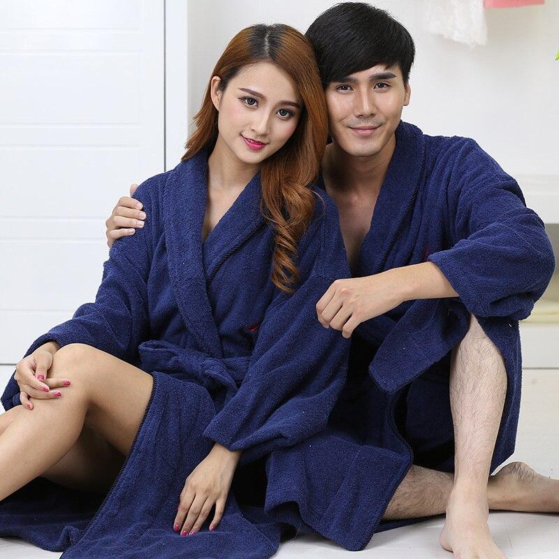 Cotton women bathrobe men nightgown sleepwear girls towel fleece long adult size thickened hotel bathrobe home autumn winter